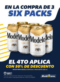 En la compra de 3 six packs ME,  el 4o al 50% de descuento