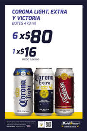 Corona Light, Extra y Victoria