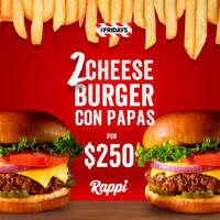 Pide dos hamburguesas Fridays Cheeseburger por $250