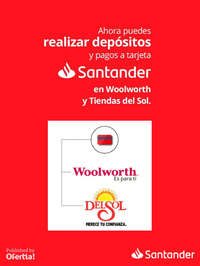 Deposita y paga tu tarjeta en Woolwoth y Del Sol