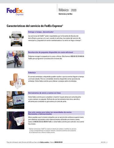 Servicios y tarifas México 2020- Page 1