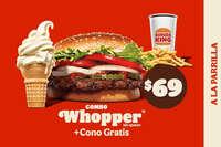 Combo Whopper sin queso ý cono gratis