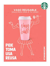 Vaso reusable rosa