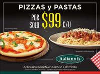 Pizzas y pasta a $99